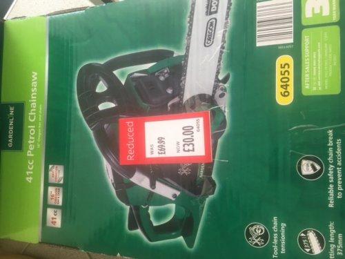 Gardenline 41cc Petrol Chainsaw £30.00 Instore at Aldi