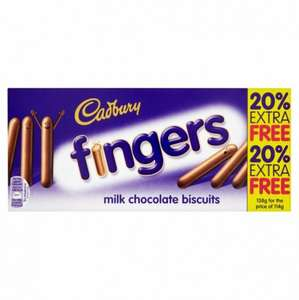 Cadbury chocolate fingers 114g +20% free just 10p @ poundstretcher