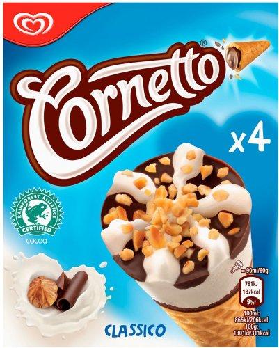 Cornetto Classico Ice Cream Cones (4 x 90ml) ONLY £1.00 @ Iceland
