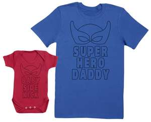 Father & Baby Matching Tee & Bodysuit sets - Babyosaurus / Daddyosarus or Superhero Daddy / Baby Side kick £9.98 delivered at Groupon