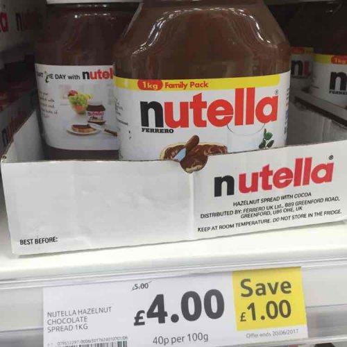 Nutella 1kg £4 @ Tesco