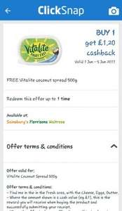 Free Vitalite Coconut spread 500g (dairy free) - ClickSnap £1.20
