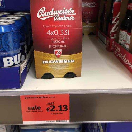 Budweiser Budvar 4x33cl £2.13 Sainsbury's