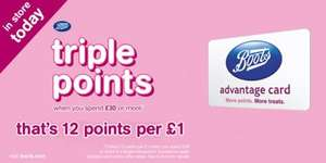 TRIPLE POINTS in store and online starts TODAY on over £30 spend / £50 online @ Boots