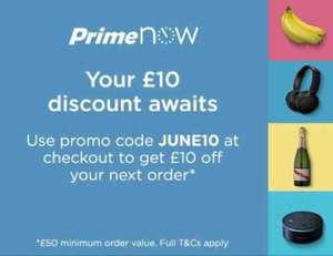 Amazon Prime Now £10 off with code when spending £50 (limited to customers who placed at least two orders of £50 or more in May 2017)