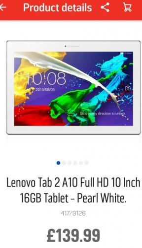 lenevo tab 2 A10 full HD £139.99 @ Argos
