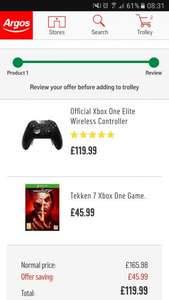 Xbox one elite controller with Tekken 7 £119.99 @ Argos (with £10 voucher back for > £100 spend)