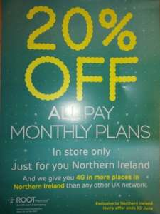20% off all new and upgrading contract customers for EE (Northern Ireland only in store)