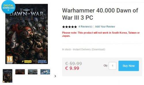 [PC] Warhammer 40.000 Dawn of War III 3 - 9.99EUR @ CDKeys