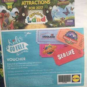 Free child attraction ticket with paying adult in this weeks Lidl magazine *instore -chessington, Legoland, sealife, Alton towers
