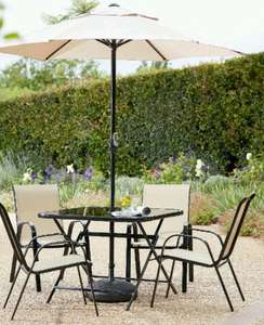 Madrid 4 seat dining set with table and parasol was £249 now 125.25 @ JD Williams with code