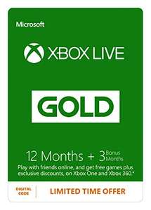 Xbox Live 12 month Gold Membership + 3 month free (Xbox One/360) [Xbox Live Download Code] £39.99 @ Amazon (£35.99 for Amazon Students)