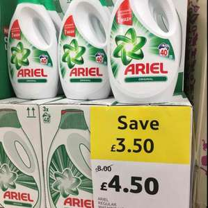 Ariel Washing Liquid 2L 40 Washes was £8 now £4.50 In-Store & Online @ Tesco