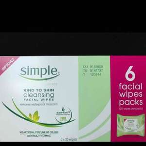 Simple Kind to Skin Face Wipes / Facial Wipes 6 Pack - £4 @ Asda instore