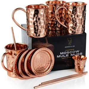 Moscow Mule Copper Mugs Set, plus Coasters, Straws and a Shot glass - £138.98 down to £3.48 with free delivery at Amazon WITH CODE (sold by Riches & Lee)
