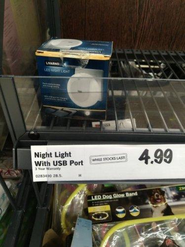 Night light with usb port £4.99 lidl