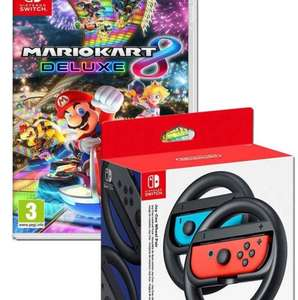 Mario Kart 8 Deluxe + Nintendo Switch Joy Con Wheel Pair £44.99 with code Free C&C @ Tesco Direct