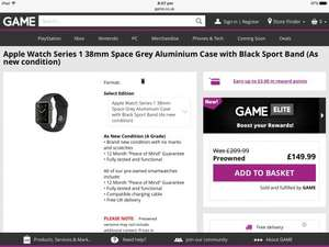 Pre-Owned Apple Watch Series 1 38mm Space Grey Aluminium Case with Black Sport Band (As new condition) - £149.99 @ Game