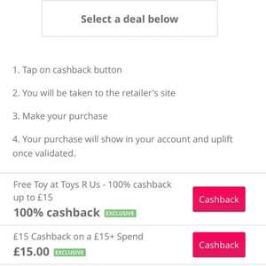 100% Cashback (up to £15) at ToysRUs with TCB. [New Members Only]