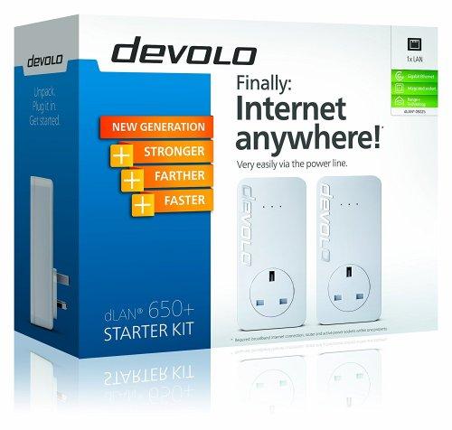Devolo dLAN 650+ Powerline Starter Kit (1 GB LAN Port, Pass Through, 600 Mbps) - Amazon £35.78 & FREE UK delivery