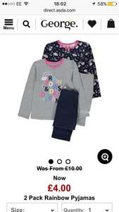 Pack of two girls pjs from George more than half price £4