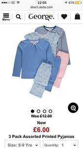 Girls 3 pack of assorted pj sets from George - £6 at asda free C&C