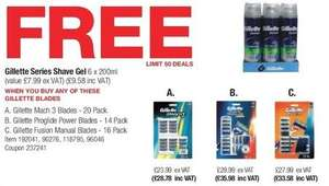 Free 6 Gillette series shaving gel (200ml) with purchase of any Gillette shavers blade packs (see details) instore £28.78 at Costco warehouse