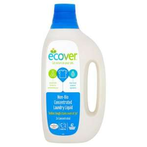 Ecover concentrated laundry liquid non biological 42 washes for £4.50 (10.7p/wash) down from £9 @ Ocado