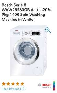 Bosch Serie 8 WAW28560GB 9kg 1400 Spin Washing Machine in White  Co-op Electrical- £479.00