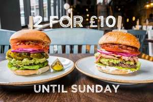 2 burgers for £10 at Handmade burger co