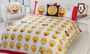 Emoji 'Fun Icons' Reversible Duvet Set Single £11.99 / Double £14.99 Delivered @ Groupon