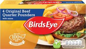 Birds Eye Original Beef Quarter Pounders with Onion (4 per pack - 454g) was £2.49 now £1.50 @ Tesco