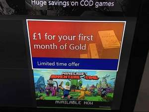 Xbox live month free (advertised as £1)