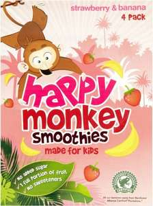 Happy Monkey Smoothies (Made for kids) Strawberry & Banana Flavour (4 x 180ml) was £2.00 now 2 for £3.00 @ Iceland