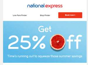 Get 25% off on National Express