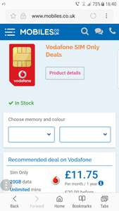 Vodafone SIM Unlimited Mins, Texts & 20gb Data Total £240 - £11.75 p/m after cashback @ Mobiles.co.uk
