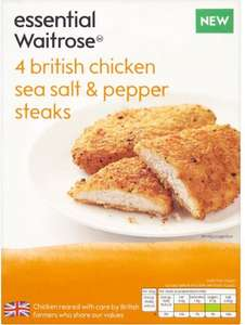 Essential Waitrose British Chicken Sea Salt and Pepper Steaks (4 = 380g) ONLY £1.00 @ Waitrose