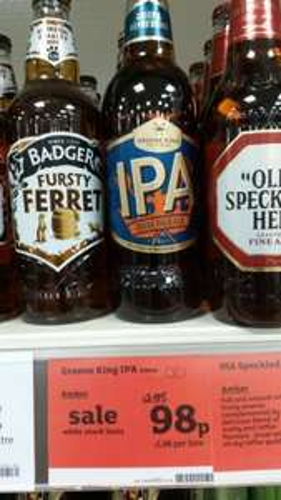 Green King IPA 98p a bottle at Sainsbury's