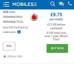 SIMO UL Texts & Min, 8GB of data 12 months £17 p/m £204 (£8.75 per month post cashback) on Vodafone @ Mobiles.co.uk