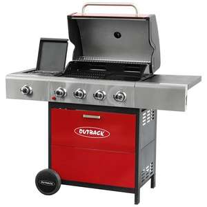OUTBACK METEOR HOODED 4 BURNER GAS BBQ GRILL IN RED (2017 MODEL) £337.49 @ OUTBACK DIRECT