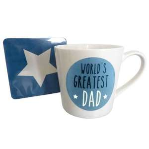 World's Greatest Dad mug & coaster set for £2.12 at Dunelm. Free click & collect