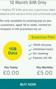 ee sim only exclusive deal1GB 1000 mins unlimited text £5.00