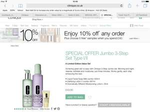 10% off any order at Clinique, plus five mini samples with £40 spend (£38.70 for jumbo 3 step gift)