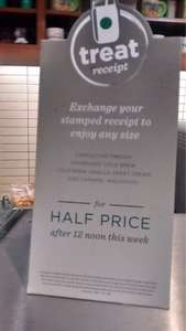 Starbucks treat receipt, bring any receipt from the morning after 12 noon and get a half price iced drink