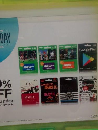 Selected gift cards 20% off at asda £20-25 original values