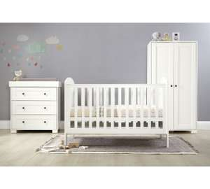 Mamas and Papas Harrow 3 piece nursery furniture set with cot bed, changer top chest and wardrobe plus free mattress £406.94 delivered same in M&P is £797 @ Argos