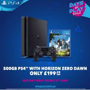 PS4 Slim 500GB Console + Horizon Zero Dawn £199.99 @ All Major Retailers (1 Day Only)