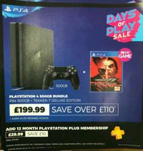 500GB Slim Playstation 4 Console With Tekken 7 Deluxe Edition Brand New £199.99 Instore @ Game