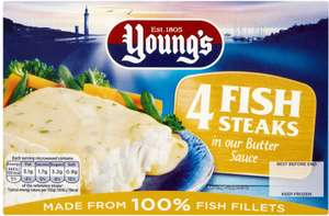 Young's Fish Steaks In Butter Sauce (4 x 140g ) was £3.25 now £2.00 @ Sainsbury's