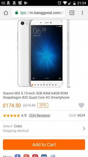 Xiaomi Mi5 5.15-inch 3GB RAM 64GB ROM Snapdragon 820 Quad Core 4G Smartphone £174.50 @ Banggood
